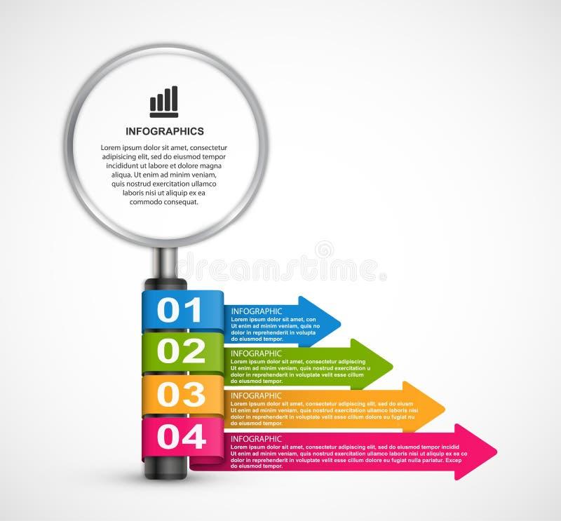 Abstrakte infographics Designschablone mit Vergrößerungsglas Infographics für Geschäftsdarstellungs- oder -informationsfahne vektor abbildung