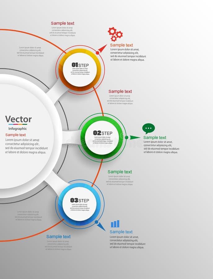 Abstrakte infographics Zahl-Wahlschablone mit drei Schritten lizenzfreie abbildung