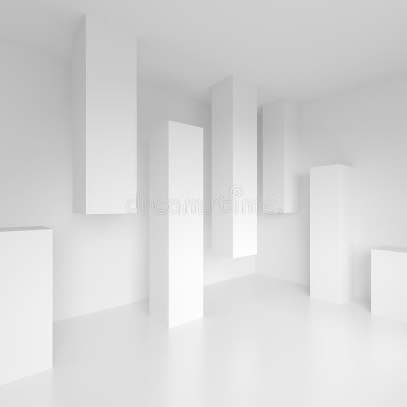 Abstrakte Innenarchitektur Büro-Raum-Hintergrund Weißes modernes W stock abbildung