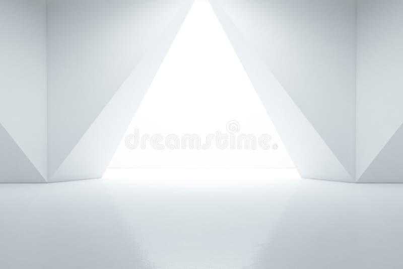 Abstrakte Innenarchitektur des modernen Ausstellungsraums mit leerem Boden und weißem Wandhintergrund stockfoto