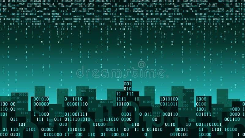 Abstrakte intelligente Stadt mit der künstlichen Intelligenz und Internet von Sachen, große Daten lizenzfreie abbildung