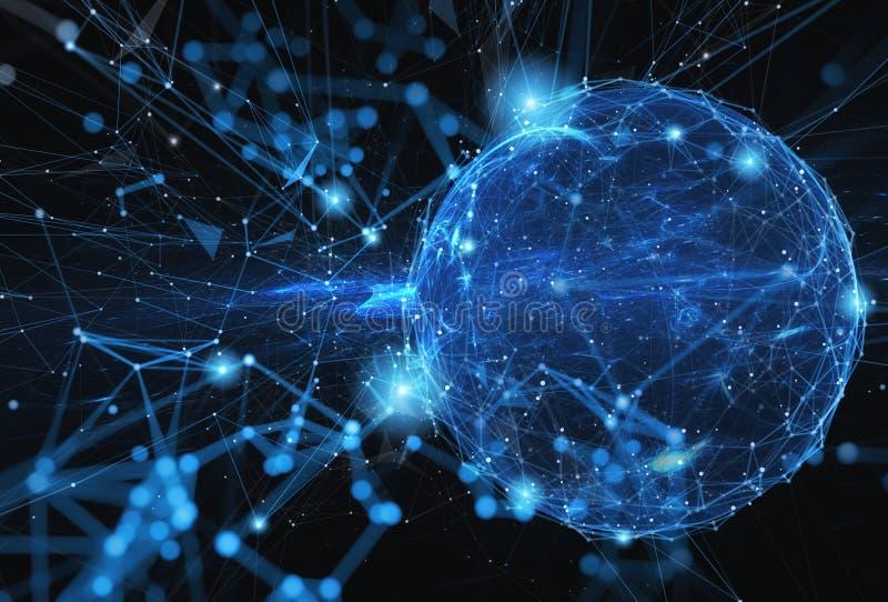 Abstrakte Internet-Welt mit Verbindungsnetzeffekt stockfoto