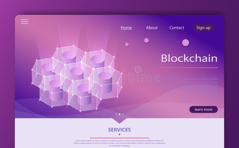 Abstrakte isometrische Konzeptfahne Blockchain Isometrisches vecotr Server-Raumkonzept, blockchain Technologie lizenzfreie abbildung