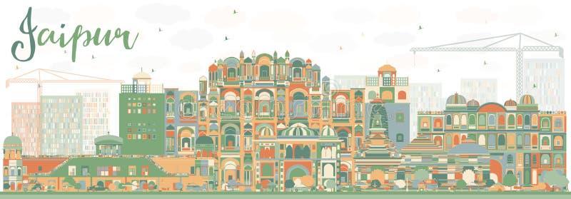 Abstrakte Jaipur-Skyline mit Farbmarksteinen lizenzfreie abbildung