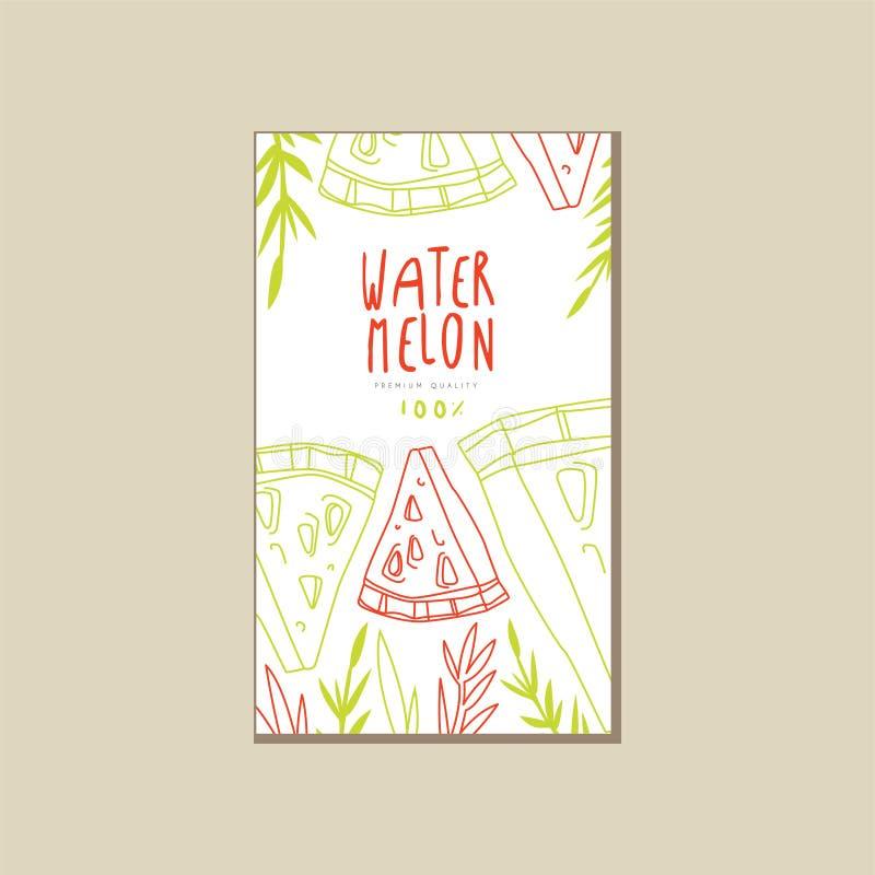 Abstrakte Karte mit süßer Sommerfrucht Hand gezeichnete Dreieckscheiben der Wassermelone Natürliche und gesunde Nahrung Eco Produ vektor abbildung