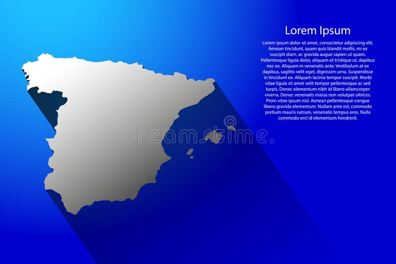 Abstrakte Karte von Spanien mit langem Schatten auf blauer Hintergrundillustration stock abbildung