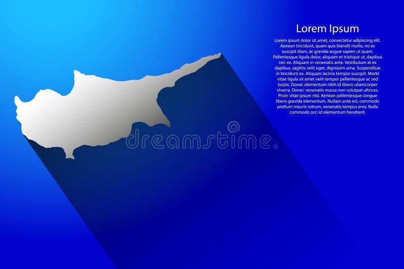 Abstrakte Karte von Zypern mit langem Schatten auf blauer Hintergrundillustration lizenzfreie abbildung