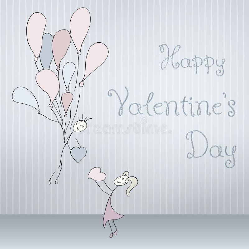 Abstrakte Karten mit der Hand, die gezeichnet wird, passen mit Ballonen, der Gekritzelguß zusammen, gefaltet Rote Rose lizenzfreie abbildung