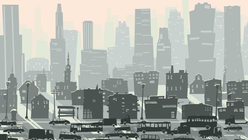Abstrakte kindische Illustration von Großstadt mit Autos. vektor abbildung