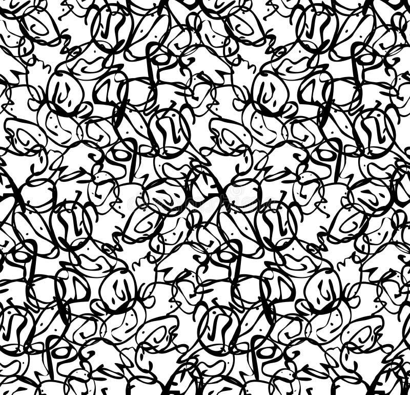 Abstrakte kleine überschneidene curvy Formen schwärzen auf Weiß lizenzfreie abbildung