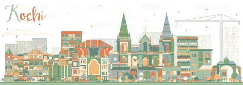 Abstrakte Kochi-Skyline mit Farbgebäuden lizenzfreie abbildung