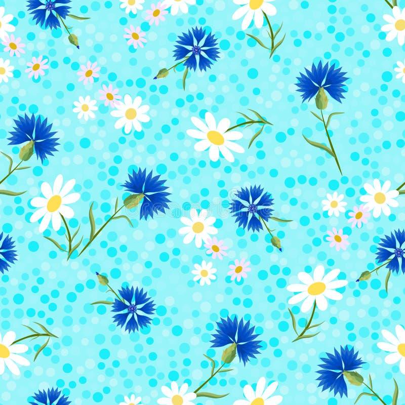 Abstrakte Kornblumen blaues dots-01 stockfotos