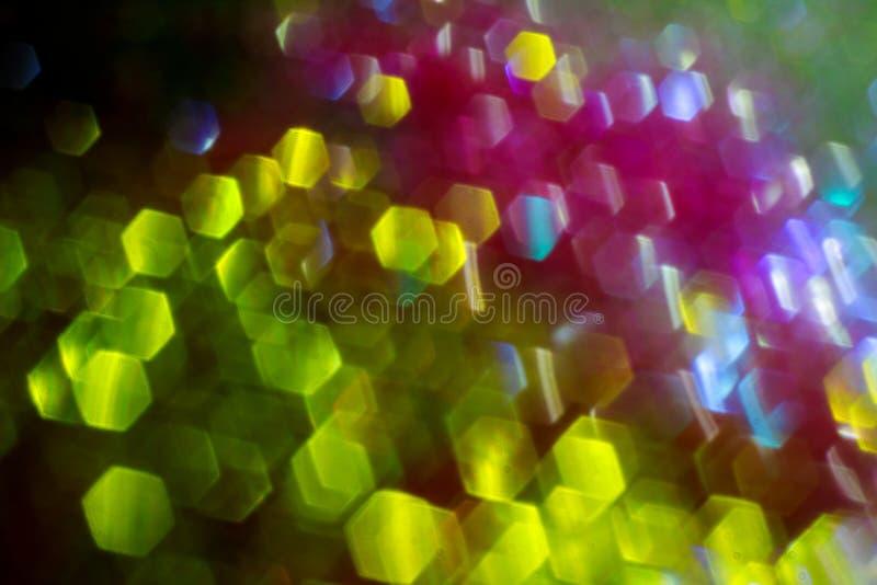 Abstrakte Kreis-bokeh Hintergrundansicht von bunten Lichtern von Weihnachten lizenzfreies stockfoto