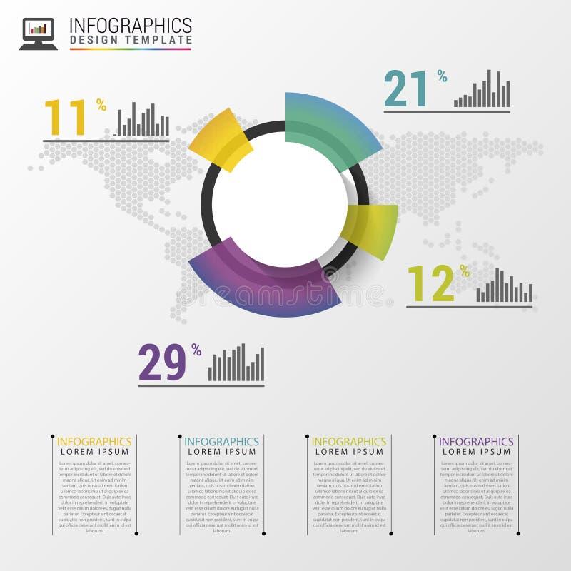 Abstrakte Kreisdiagrammgraphik für Geschäftsdesign Moderne infographic Schablone Auch im corel abgehobenen Betrag vektor abbildung
