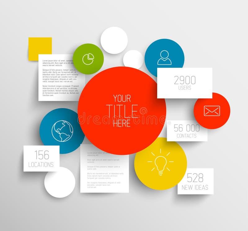 Abstrakte Kreise des Vektors und infographic Schablone der Quadrate lizenzfreie abbildung