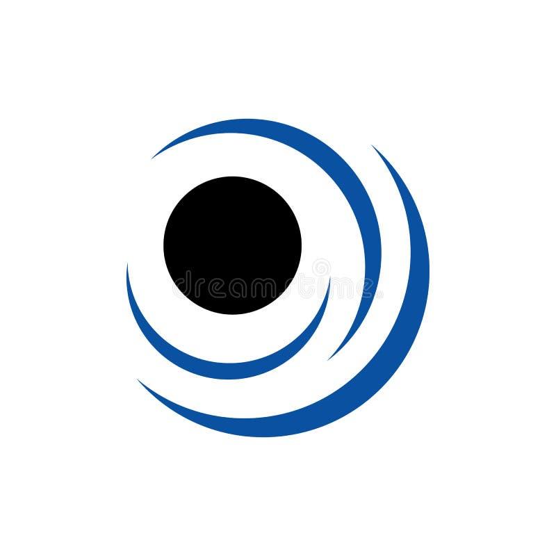 abstrakte kreisförmige Logo-Elemente rund um die Kurve wirbelnde Vektor-Darstellung lizenzfreie abbildung
