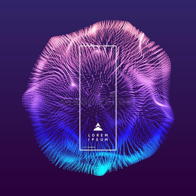 abstrakte Kugel 3d Reihe mit dynamischen Partikeln Modernes Wissenschaft und Technik-Element Auch im corel abgehobenen Betrag stock abbildung