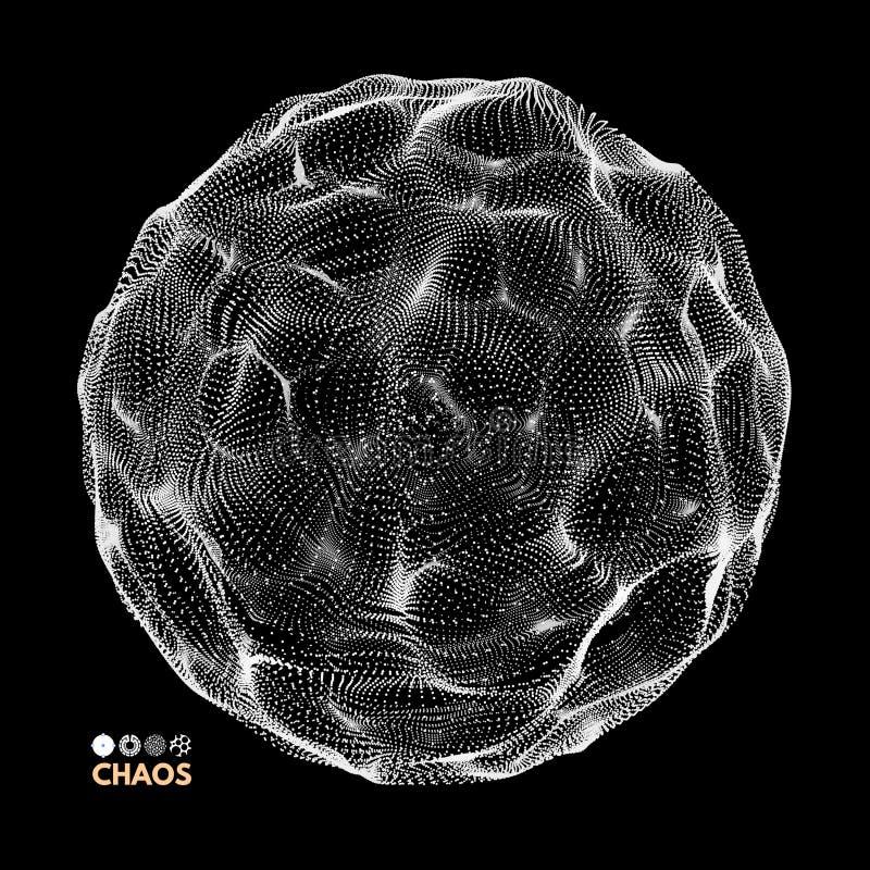abstrakte Kugel 3d Reihe mit dynamischen Partikeln Modernes Wissenschaft und Technik-Element Auch im corel abgehobenen Betrag lizenzfreie abbildung