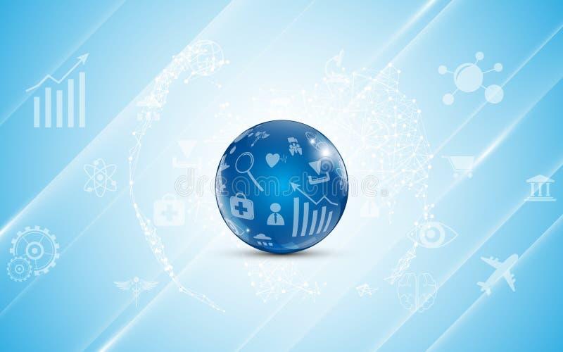Abstrakte Kugel mit Internet des Sachenikonenmustertechnologiekommunikations-Konzepthintergrundes vektor abbildung