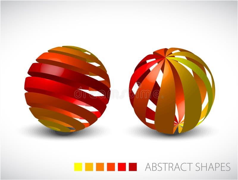 Abstrakte Kugeln gebildet von den bunten Streifen vektor abbildung