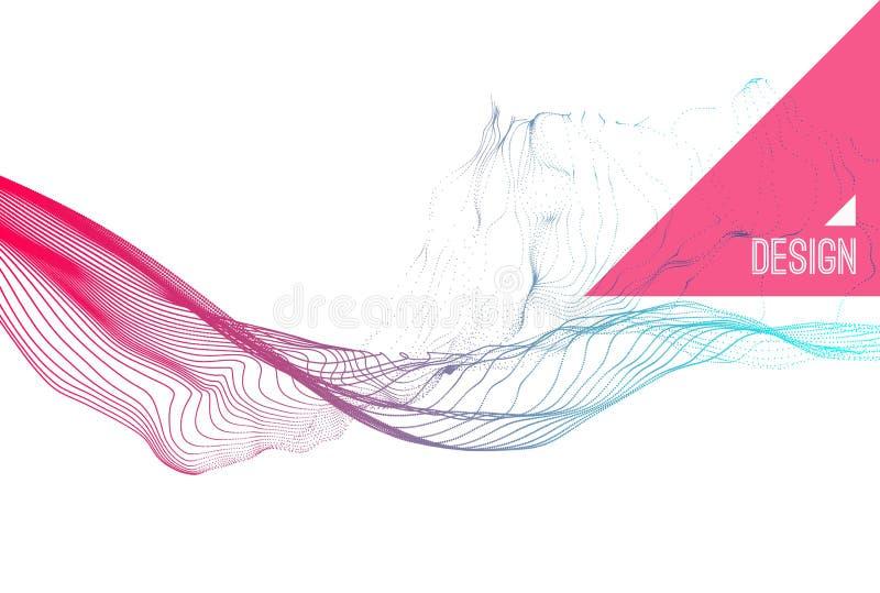 Abstrakte Kunst Reihe mit dynamischen ausgestrahlten Partikeln Wasser-Spritzen-Nachahmung Moderner Wissenschaft und Technik-Hinte lizenzfreie abbildung