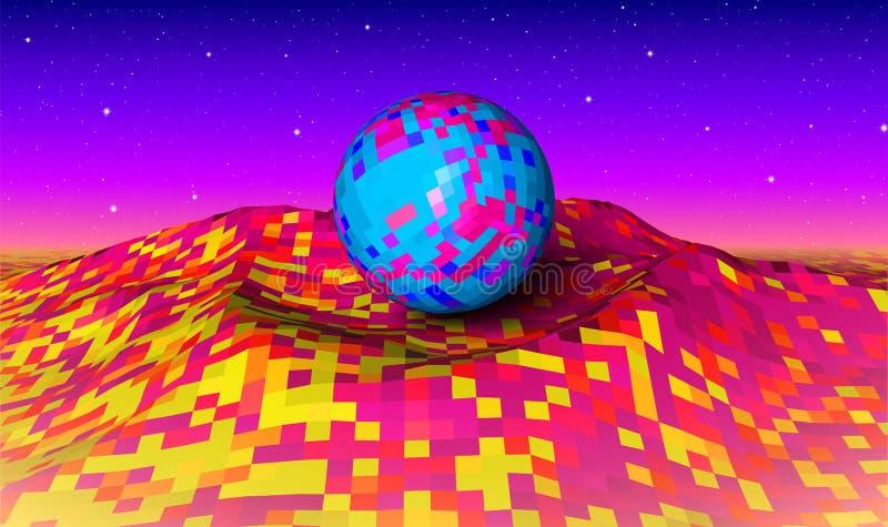 Abstrakte Landschaft mit Neonbergen und Ball stock abbildung