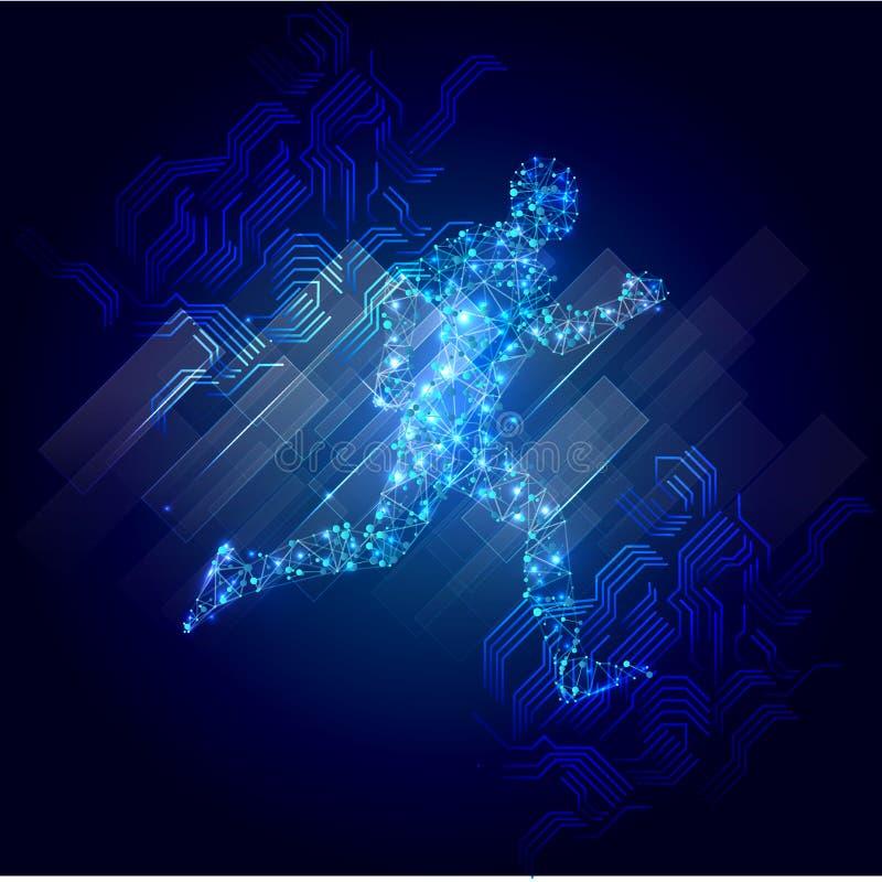 Abstrakte laufende Mannformlinien und Dreiecke, Verbindungsnetz des Punktes auf blauem Hintergrund Illustration Vektor vektor abbildung