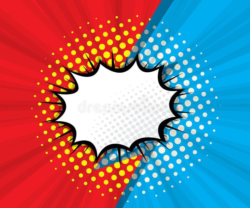 Abstrakte leere Spracheblase mit rotem und blauem Hintergrund vektor abbildung