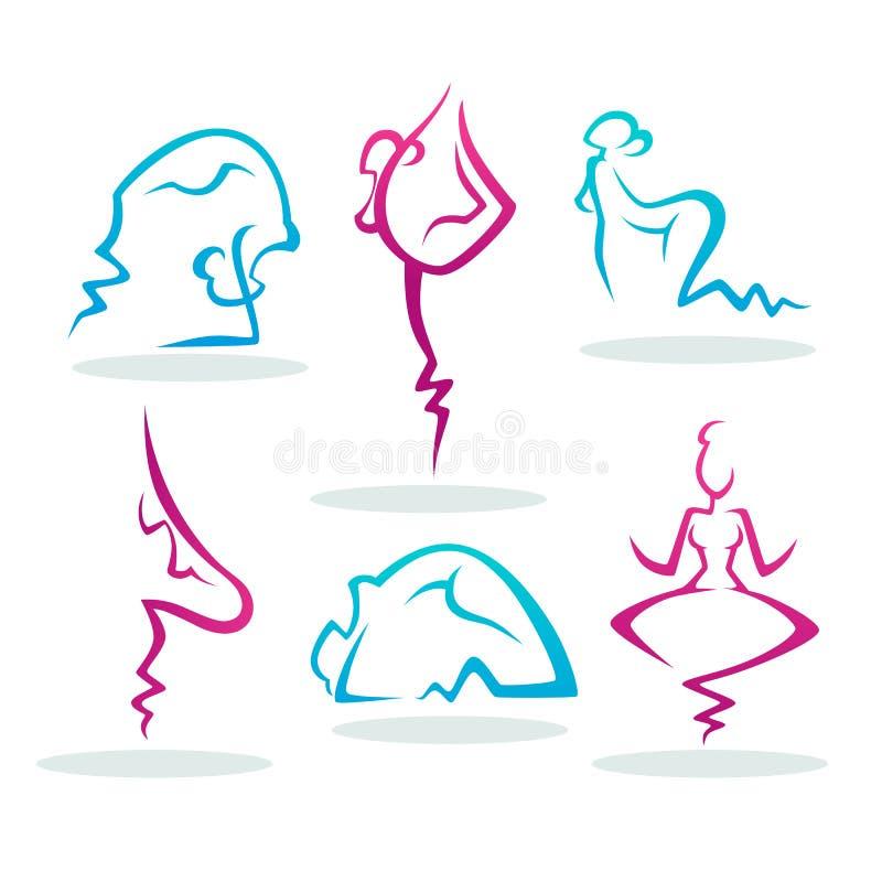 Abstrakte Leute silhouettieren das Handeln von Yoga für Ihr Logo vektor abbildung