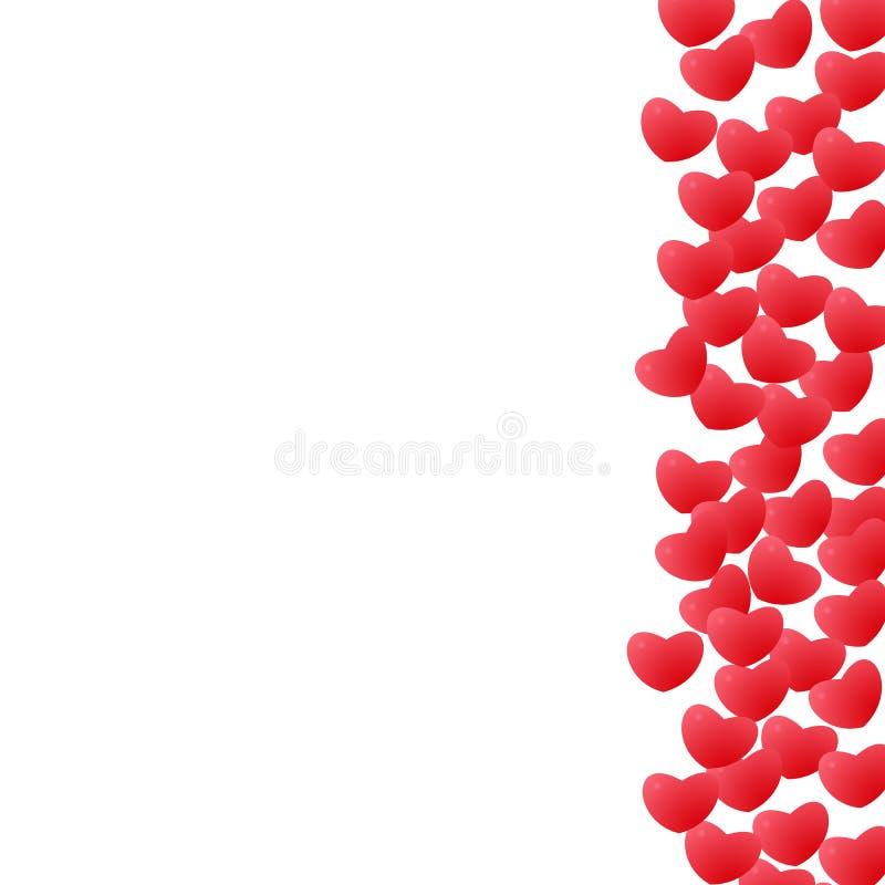 Abstrakte Liebe für Ihr Valentinsgruß-Tagesgruß-Kartendesign Roter Herzrahmen lokalisiert auf weißem Hintergrund stock abbildung