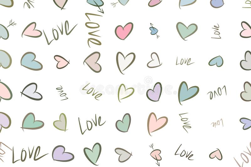 Abstrakte Liebe für Valentinstag-, Feier- oder Jahrestagsillustrationshintergrund Entwurf, Dekoration, Hintergrund u. Festival lizenzfreie abbildung