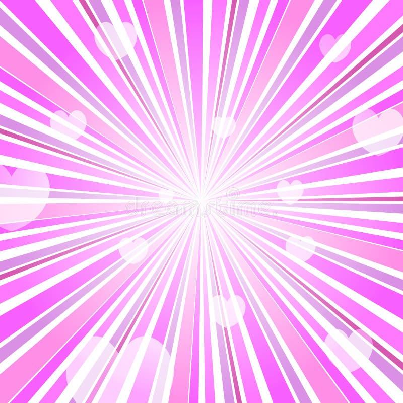 Abstrakte Liebes-Herz-Explosion Ray Background Pink lizenzfreie abbildung