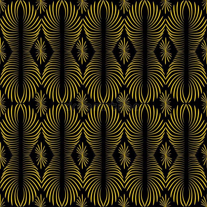 Abstrakte lineare Verzierung der goldenen Farbe auf einem dunklen Hintergrund stock abbildung
