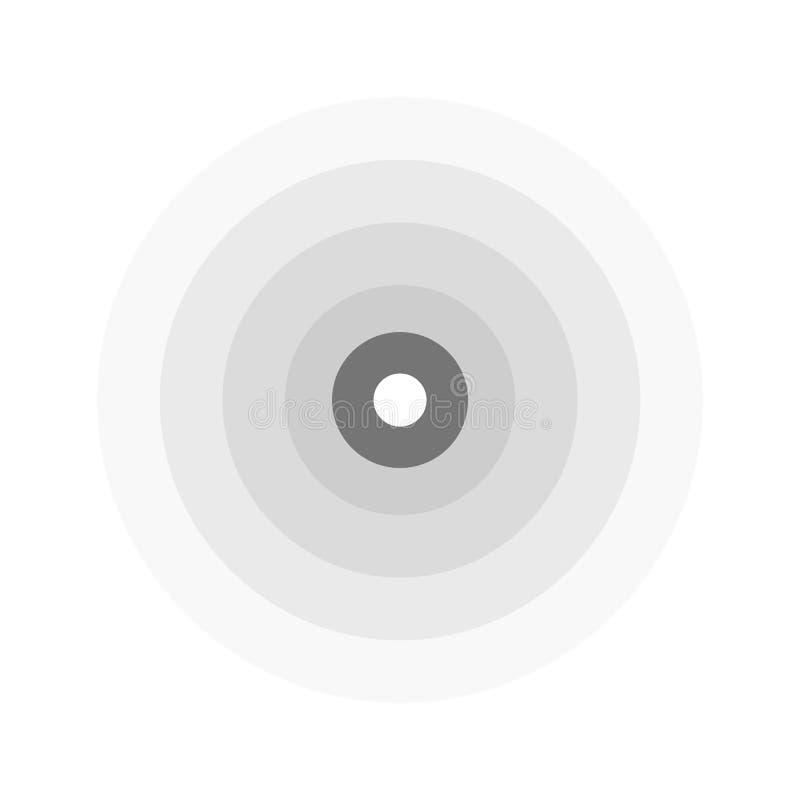 Abstrakte Linie Kräuselungsemblem Radar-, Ton- oder Erschütterungsikone Flaches Design stock abbildung