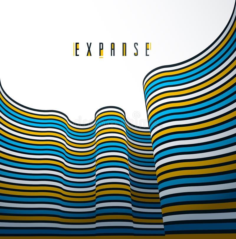 abstrakte Linien 3D im Perspektivenvektorhintergrund, modernes modisches Gestaltungselement, kühler Artplan für Anzeigenplakatfah lizenzfreie abbildung