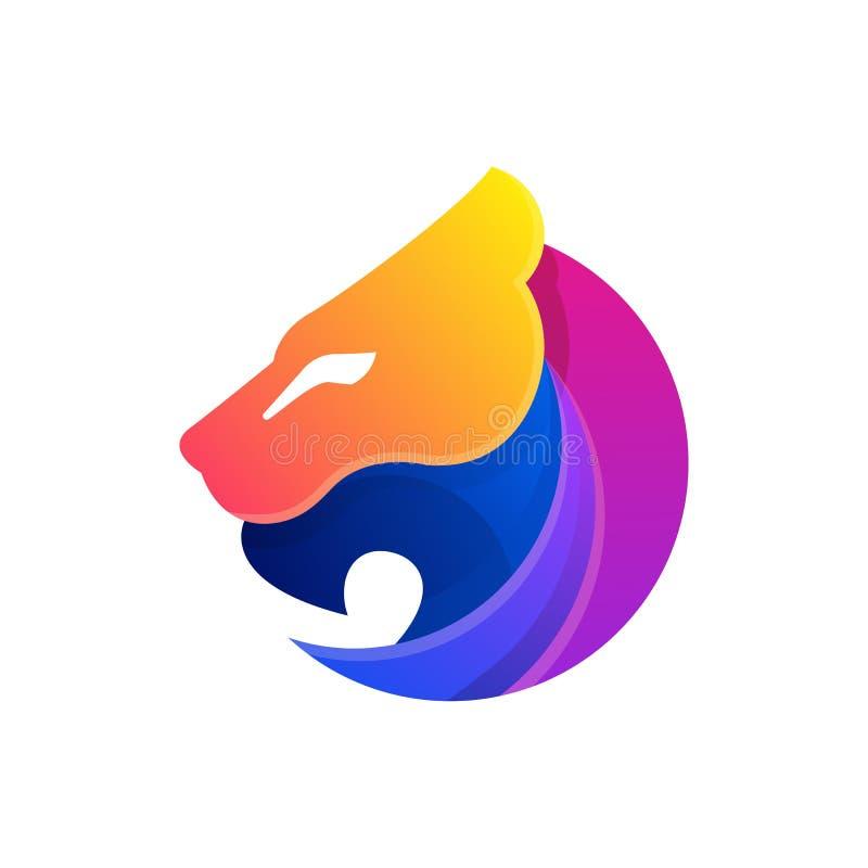 Abstrakte Lion Head Color Full Designs-Illustrationsvektorschablone lizenzfreie abbildung