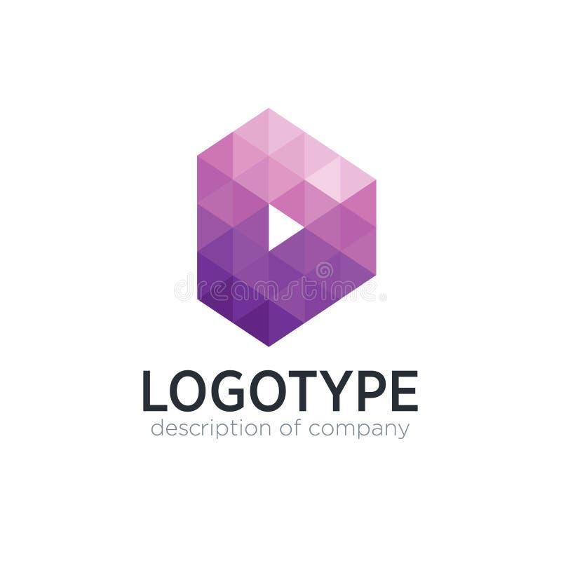 Abstrakte Logo-Designschablone des Tendenzpolygonbuchstaben D lizenzfreies stockbild