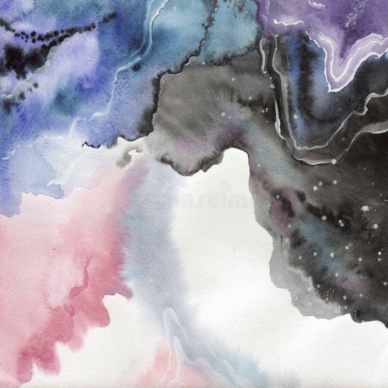 Abstrakte lokalisierte Zeichnung des Aquarellpapier-Spritzens Formen vektor abbildung