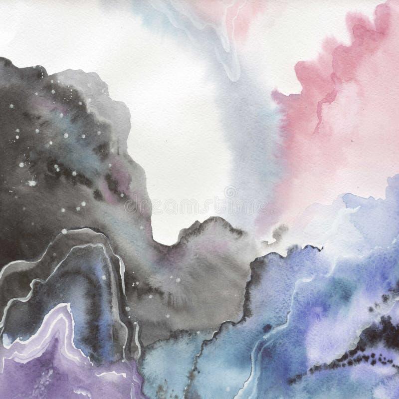 Abstrakte lokalisierte Zeichnung des Aquarellpapier-Spritzens Formen stock abbildung