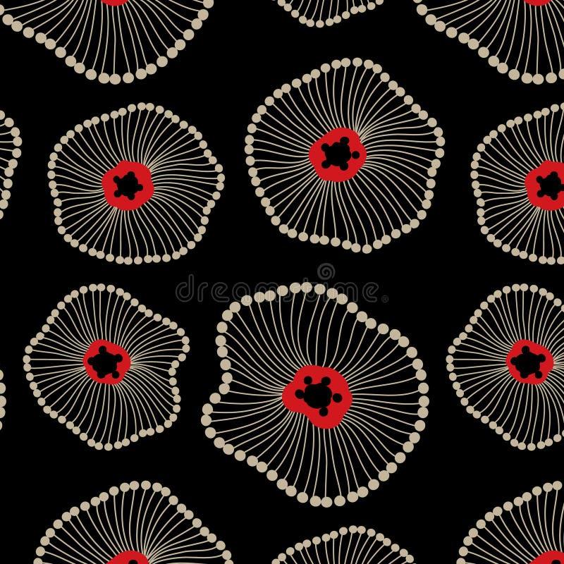 Abstrakte Lotus Floral Seamless Pattern lizenzfreie abbildung