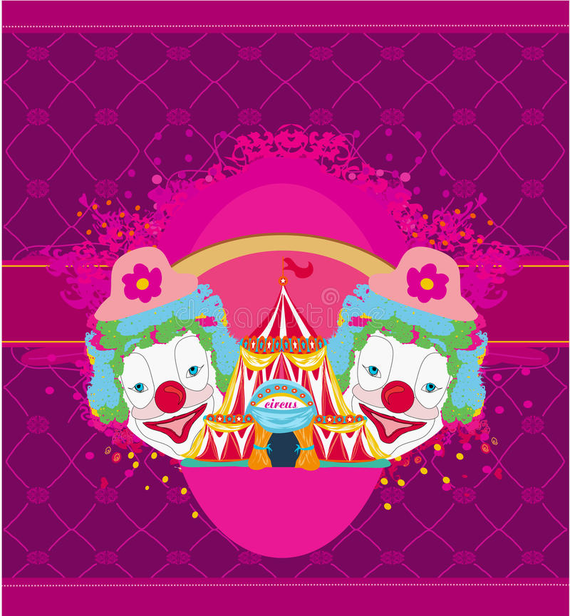 Abstrakte lustige Karte des Zirkusses und der Clowne vektor abbildung