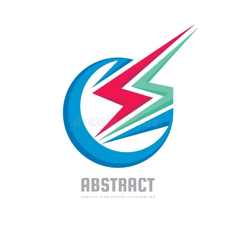 Abstrakte macht- Konzeptgeschäftslogoschablonen-Vektorillustration Kreatives Zeichen der Energie Abstraktes Blitzsymbol Flügeliko stock abbildung