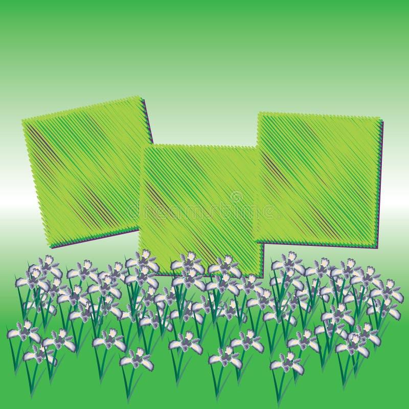 Abstrakte magische bunte Blume auf grünem Hintergrund stock abbildung