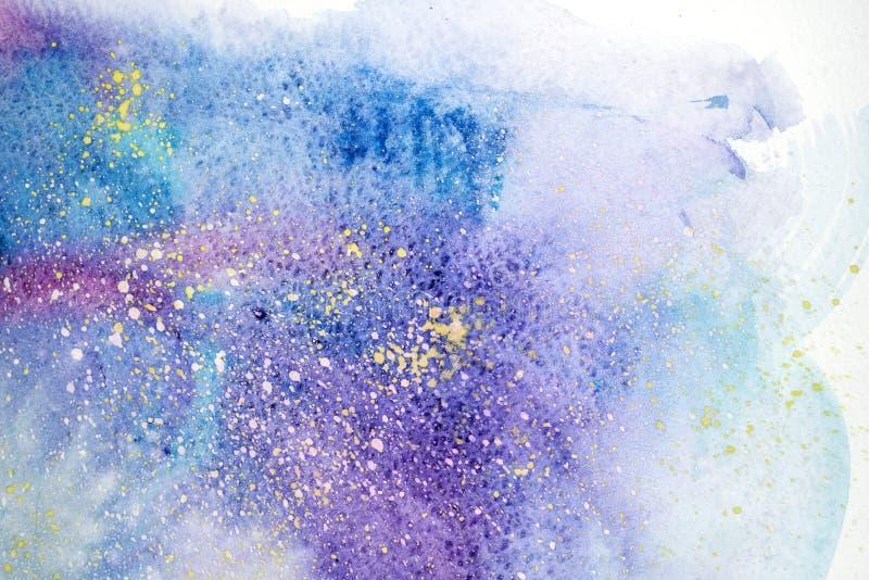 Abstrakte Malerei des Aquarells Wasserfarbzeichnung Watercolour befleckt Beschaffenheitshintergrund stock abbildung