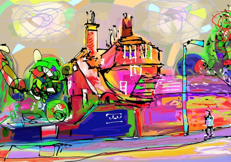 Abstrakte Malerei des britischen Dorfs, digitale Kunst vektor abbildung