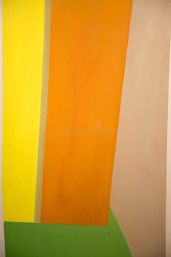 Abstrakte Malerei-Kunst mit den gelben, orange und grünen geometrischen Formen stockbilder