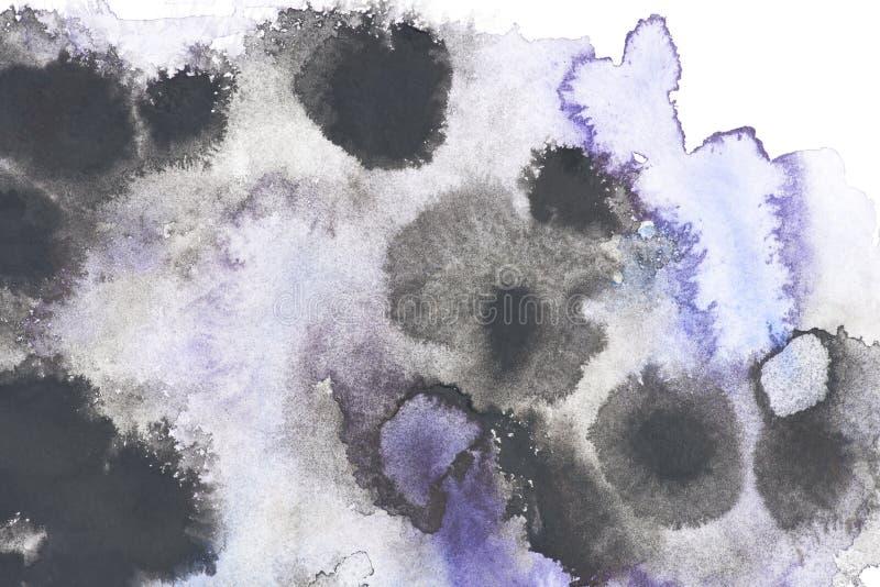 Abstrakte Malerei mit den schwarzen und blauen Farbenflecken lizenzfreie stockfotografie