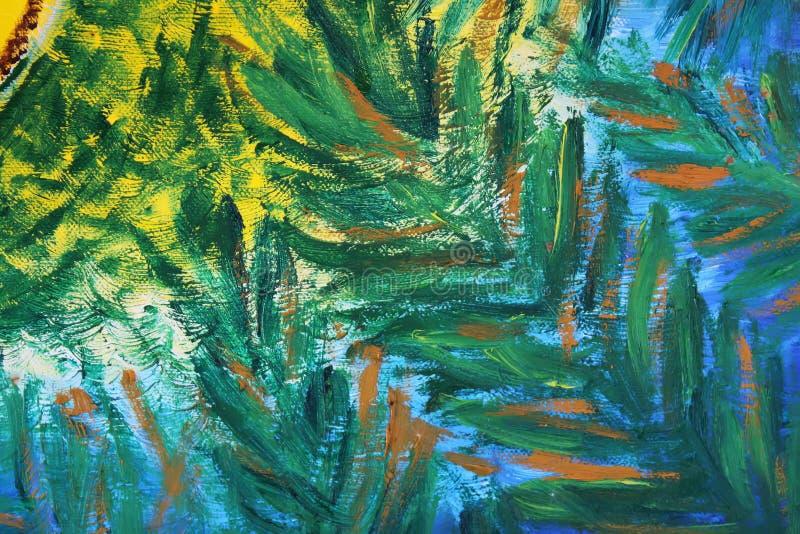 Abstrakte Malerei vom Öl auf Segeltuch stockbilder