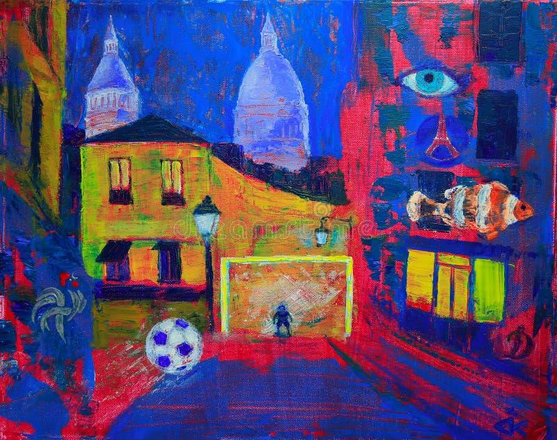 Abstrakte Malerei vom footbal auf Montmartre lizenzfreie abbildung