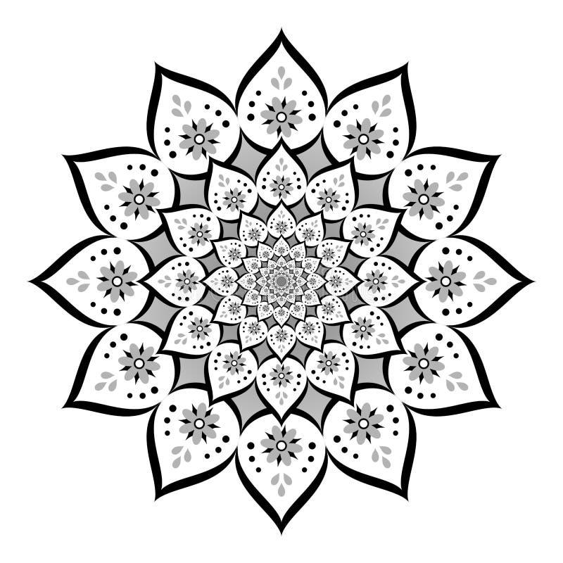 Abstrakte Mandala, Blume Lokalisiert Auf Weißem Hintergrund ...